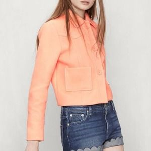 Maje Vadim Cropped Jacket in Peach